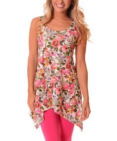 Look at this #zulilyfind! Pink & Green Floral Sleeveless Sidetail Tunic #zulilyfinds