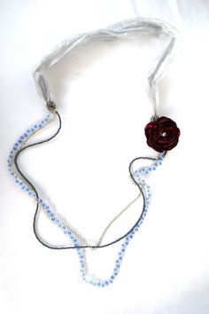 Three strand blue and dark grey beaded statement by hobitique