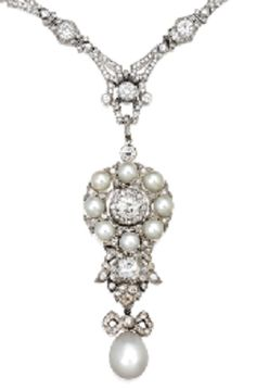 An Art Deco Natural Pearl and Diamond Sautoir, Circa 1925. The stylised pendant suspending a natural pearl, highlighted by two brilliant-cut diamonds, decorated by eight button-shaped natural pearls, to a necklace composed of geometric link millegrain-set with circular-cut diamonds, the diamonds, mounted in platinum, detachable to form two necklaces.