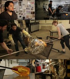 Philadelphia-based glass blower and lighting designer John Pomp has an excellent quality video of him in his glass blowing studio creating one of his lighting pieces.