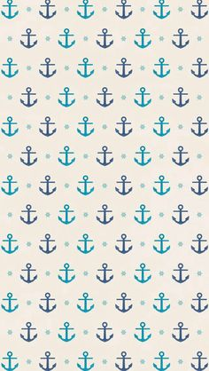Children's Spaces | Patterns for Babies | Art Print | Illustration | Poster | Decoração Infantil | Padronagem para Bebês | Ilustração para Impressão #sea #ahoy #anchor #fish #ocean #captain #pirate #shark Small teal and navy blue anchor anchors on off white background. #wallpaper