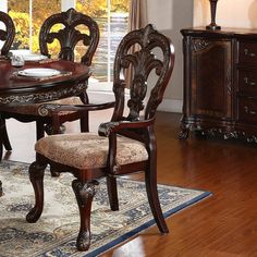 Astoria Grand Chalus 7 Piece Extendable Dining Set & Reviews | Wayfair Round Dining Room Sets, Kitchen Dining Sets, 5 Piece Dining Set, Double Pedestal Dining Table, Solid Wood Dining Set, Countertop Materials, Wood Countertops, Dining Furniture, Cool Furniture