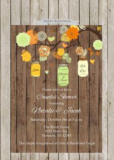 Fall Bridal or Baby Shower Invitation-Rustic, Couples Shower, Coed Shower, Mason Jar Tree, Cream, Orange, Green, Yellow