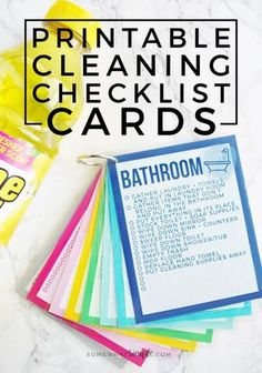 These colorful Printable Cleaning Checklist Cards will help tackle everyday household chores! Plus ideas on how to make a simple cleaning caddy! Deep Cleaning Tips, House Cleaning Tips, Cleaning Solutions, Cleaning Hacks, Diy Hacks, Cleaning Schedules, Cleaning Check Lists, Zone Cleaning, Speed Cleaning