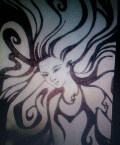 Mystic girl pyrography