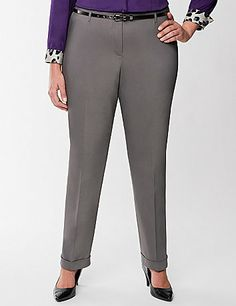 Your modern mentality is front & center in a trendy ankle pant - perfect for workday, weekend or evenings! Crisp leg creases, cuffed ankles and a skinny belt to pull it all together for a look that's so right now. Our smooth double-weave stretch fabric outfits the season with amazing durability and keeps its shape for all-day wear.  Inner button, bar & slide and zip fly closure. lanebryant.com