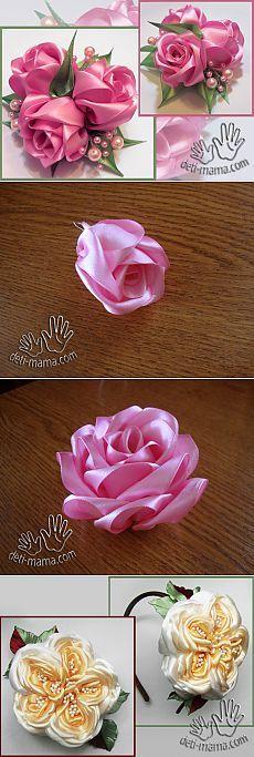 цветы из ткани и атласных лент