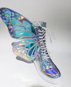 Phantom silver butterfly Wings Strap Boots - OhiChiic - Contemporary Women's Shoes at Affordable Prices Unique Shoes, Cute Shoes, Me Too Shoes, Butterfly Shoes, Butterfly Wings, Butterfly Colors, Rainbow Sneakers, Rainbow Heels, Doc Martens Outfit
