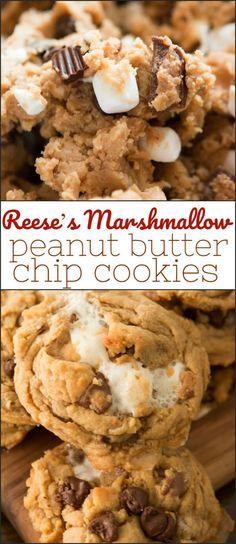 Reese's Marshmallow Peanut Butter Chip Cookies - Oh Sweet Basil - Dessert Recipes Peanut Butter Chip Cookies, Chip Cookie Recipe, Cookie Recipes, Dessert Recipes, Marshmallow Peanut Butter, Peanut Butter Recipes, Fudge Recipes, Candy Recipes, Yummy Recipes