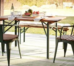 TAVERN RECTANGULAR FIXED FOLDING DINING TABLE