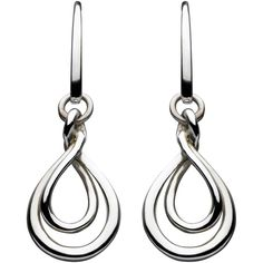 Kit Heath Sterling Silver Double Petal Drop Earrings QCD8lO