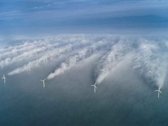 Turbine Contrails: Clouds form in the wake of the front row of wind turbines at the Horns Rev offshore wind farm near Denmark.