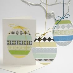 eggs shaped ornaments ...  hard acetate film with washi  tape designs ... great to decorate a plain card or hang of white painted branches ...