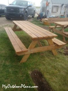 DIY 8 ft Wood Picnic Table | MyOutdoorPlans | Free Woodworking Plans and Projects, DIY Shed, Wooden Playhouse, Pergola, Bbq Diy Picnic Table, Wooden Picnic Tables, Picnic Table Plans, Wooden Playhouse, Diy Shed, Play Houses, Woodworking Plans, Pergola, Bbq