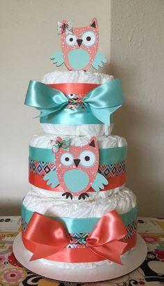 Custom Diaper Cake 3 Tier Owl Aqua & Coral by TristansGigi on Etsy https://www.etsy.com/listing/232278141/custom-diaper-cake-3-tier-owl-aqua-coral