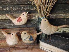 Rock River Stitches: Primitive Scrappy Birds!