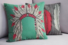 Nordic Indian Headdress Tiara Pillow Cover Boho Indie Scandanavian Throw Pillow Cushion Cover Linen Native American on Etsy, $18.00