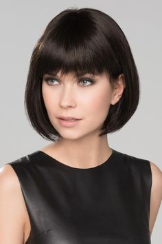 Wig Features: Mono Part Sue Mono by HairPower is a charming perfect length Bob that hits slightly below the chin line. Light weight with a full bang, softly textured. This timeless look can be worn by many face shapes. Asymmetrical Bob Haircuts, Short Bob Haircuts, Long Bob Hairstyles, Short Hair Cuts, Short Hair Styles, Brunette Bob, Chin Length Bob, Bobs For Thin Hair, Bob Haircut With Bangs