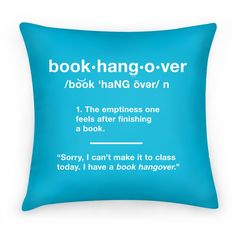 Book Hangover Definition | Pillows and Pillow Cases | HUMAN