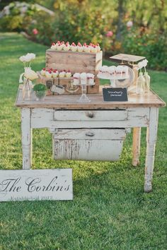 Rustic dessert display with the Emily flour bin table from Found vintage Rentals