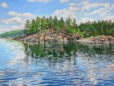Acrylic on Gallery Canvas French River Landscape Pictures, Landscape Paintings, Landscapes, Amazing Paintings, Art Pictures, Art Pics, Canadian Artists, Painting & Drawing, Waves