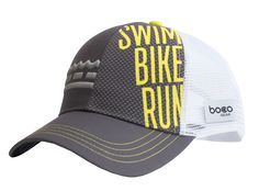 88981ee01fb A high energy trucker hat for the high energy triathlete! A dark grey hat  featuring