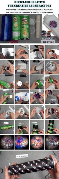 Cómo hacer un Caleidoscopio para niños con botes de Pringles y otros materiales reciclados. How to make a kaleidoscope out of recycled materials #pringleshack @Marianna