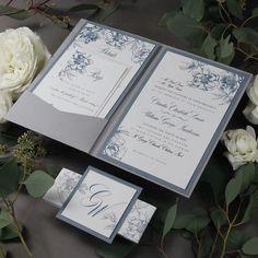 Dusty Blue Romantic Calligraphy Wedding Invitation Pocket Suite with Monogram Initials