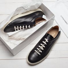 Black / White Retro Leather Achilles Low Sneakers by Common Projects