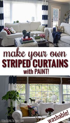 DIY *painted* striped curtains! And they are washable!