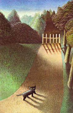 Illustration for 'The Moon Jumpers', 1959 (artwork by Maurice Sendak) Maurice Sendak, Art And Illustration, Illustrations, Illustration Landscape, Michael Sowa, Black Cat Art, Black Cats, Black Kitty, Vintage Children's Books