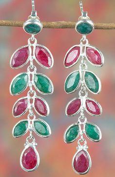 Emerald Jewellery – Multi Gem Emerald & Ruby Silver Earring BJE... – a…