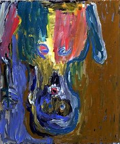 Georg Baselitz - Ein Bote - cm 205 x 172 - 1984.  Georg Baselitz is a German painter who studied in the former East Germany, before moving to what was then the country of West Germany. In the 1960s Georg Baselitz emerged as a pioneer of German Neo-Expressionist painting. His work evokes disquieting subjects rendered feverishly as a means of confronting the realities of the modern age and explores what it is to be German and a German artist in a postwar world.