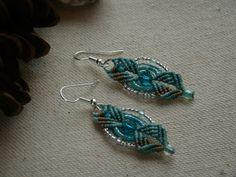 Teal Sparkles Micro Macrame Earrings by ShantyCreekCreations, $12.99