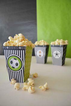 # Soccer Popcorn box Soccer Printable Kit / Complete Soccer Party DIY decor by Bernelo