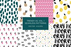 Trendy As, Vol. I Patterns (Vector) by k.becca on Creative Market