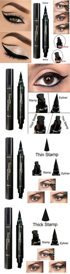 Cmaadu Double Head Eyeliner Stamp Pen Black Liquid Pencil Super Cat Style Point Make Up Tools