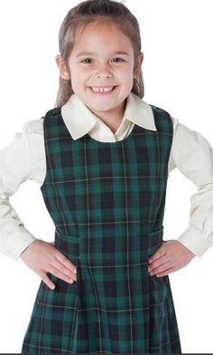 Girls Box Pleated Two Buttoned Heart On Zip Pinafore Kids School Uniform Dress
