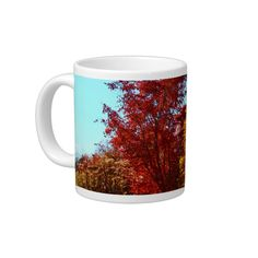 Fall Foilage At Littlefield Gardens II Jumbo Custom Coffee Mugs (20 oz) by KJacksonPhotography --  Taken 10.31.2014 The year's fall foilage at Littlefield Gardens in Orono, Maine showcase the glorious golden leaves of one tree while the fiery red leaves of another tree stand tall together.PC:261.302  #jumbocoffeemug #jumbocoffeemugs #gardens #autumn #landscape