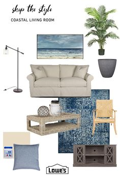 Shop our Coastal Collection at Lowes.com. Find quality home decor and more online or in store. #art #lighting #couch #rug #table #chair #paint