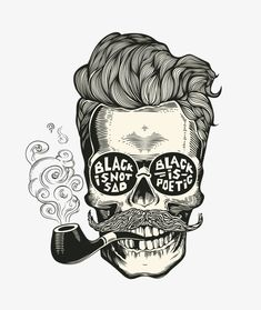 Hipster skull silhouette with mustache, beard, tobacco pipes and glasses… Skull. Hipster skull silhouette with mustache, beard, tobacco pipes and glasses… Tattoo Caveira, Skull Silhouette, Posca Art, Beard No Mustache, Hipster Mustache, Skull Tattoos, Skull And Bones, Skull Art, Tatoo