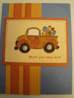 Handmade Card Stampin Up Thank You Single Card Truck Loads of Love