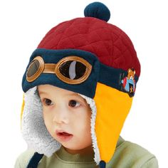 Cool Baby Boy Girl Kids Infant Winter Pilot Aviator Warm Glasses Cap Hat Beanie #Unbranded