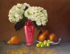 Hydrangeas with Pears before and after fixing, painting by artist Diane Hoeptner