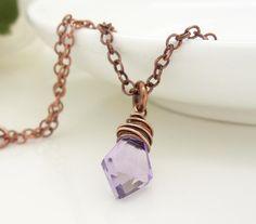 Light purple amethyst necklace copper by CreativityJewellery