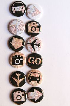 Travel Map Flair by aflairforbuttons on Etsy, $9.00