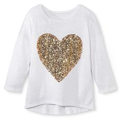 Girls' Sequined Pullover Top - White/Gold S, Girl's, Size: Small, White/Gld