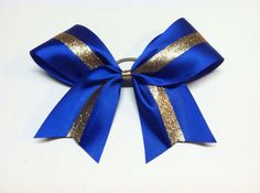 Royal Blue & Gold 3 inch wide Cheer Bow