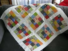 Here's an unconventional way of using jelly rolls. Make a colorful baby quilt pattern with a variation on the always eye-catching nine patch quilt pattern to make unpredictable blocks of 16.