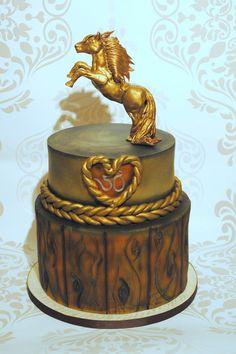 Horse statue topper - http://cakesdecor.com/cakes/223715-horse-statue-topper